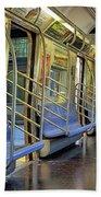 New York City Empty Subway Car Beach Towel