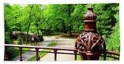 New York's Central Park Winterdale Arch Railing Cast Iron Art Beach Towel