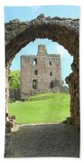 Norham Castle And Entrance Gate Beach Towel