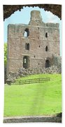 Norham Castle And Tower Through The Entrance Gate Beach Towel