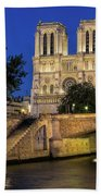 Notre Dame Cathedral Evening Beach Towel by Jemmy Archer