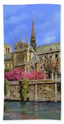 Notre Dame In Primavera Beach Towel by Guido Borelli