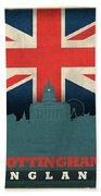 Nottingham England City Skyline Flag Beach Towel