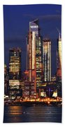 Nyc Sundown Gold And Twilight Skies Beach Towel