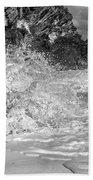 Ocean Wave Splash In Black And White Beach Towel