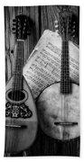 Old Banjo And Mandolin Black And White Beach Towel