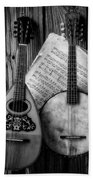 Old Banjo And Mandolin Black And White Beach Sheet