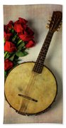Old Banjo And Roses Beach Towel