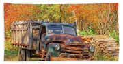 Old Farm Truck Fall Foliage Vermont Square Beach Towel