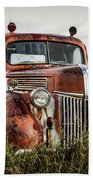 Old Fire Truck In The Mountains Beach Towel
