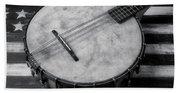 Old Mandolin Banjo In Black And White Beach Towel