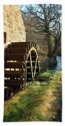 old mill wheel and stream at Preston Mill, East Linton Beach Towel
