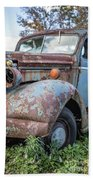 Old Vintage Blue Pickup Truck Among The Weeds Beach Towel