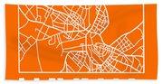 Orange Map Of Havana Beach Towel