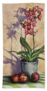 Orchids And Plums Beach Towel