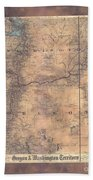 Oregon Washington Historic Map Colton Sepia Map Hand Painted Beach Towel