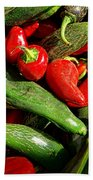 Organic Red And Green Peppers Beach Towel