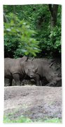 Pair Of Rhinos Standing In The Shade Of Trees Beach Towel