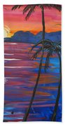 Palm Trees And Water Beach Towel