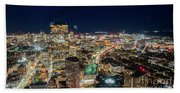 Panoramic View Of The Boston Night Life Beach Towel