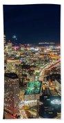Panoramic View Of The Boston Night Life Beach Sheet