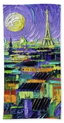 Paris Purple Night - Textural Impressionist Stylized Cityscape Mona Edulesco Beach Sheet