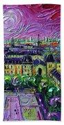 Paris View With Gargoyles Diptych Oil Painting Right Panel Beach Towel