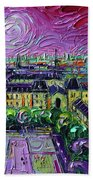 Paris View With Gargoyles Diptych Oil Painting Right Panel Beach Sheet