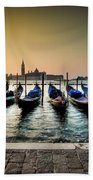 Parked Gondolas, Early Morning In Venice, Italy.  Beach Towel