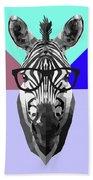 Party Zebra In Glasses Beach Towel