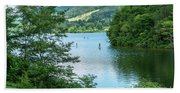 People Use Stand-up Paddleboards On Lake Habeeb At Rocky Gap Sta Beach Sheet