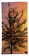 Percy Priest Lake Sunset Young Tree Beach Towel by D K Wall