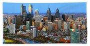 Philadelphia Skyline At Dusk 2018 Beach Sheet