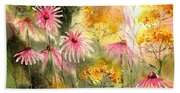 Pink And Gold Beach Towel
