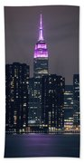 Pink Empire State Building Beach Towel