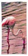 Pink Flamingo Two Beach Sheet