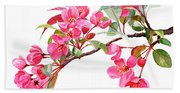 Pink Flowering Tree Blossoms Beach Towel