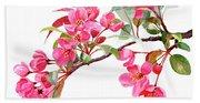 Pink Flowering Tree Blossoms Beach Sheet