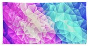 Pink Ice Blue  Abstract Polygon Crystal Cubism Low Poly Triangle Design Beach Towel