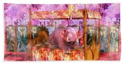 Pink Laughing Elephant Beach Towel
