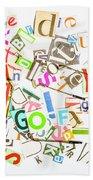 Play On Golf Words Beach Towel