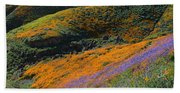 Poppies Bluebells And Rolling Hills Beach Towel