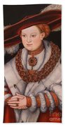 Portrait Of Magdalena Of Saxony, Wife Of Elector Koachim II Beach Towel