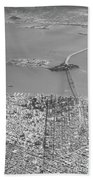 Portrait View Of Downtown San Francisco From Commertial Airplane Beach Sheet
