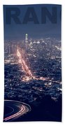 Poster Of Downtown San Francisco With Harbor On The Right Beach Towel