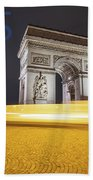 Poster Of The Arch De Triumph With The Eiffel Tower In The Picture Beach Towel