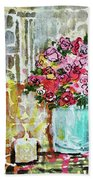 Potted Roses With Candle Beach Towel
