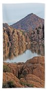 Prescott Arizona Watson Lake Hill Rcoks Water Sky Clouds 3 122019 4865 Beach Towel
