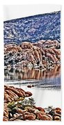 Prescott Arizona Watson Lake Rocks, Hills Water Sky Clouds 3122019 4867 Beach Towel