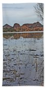 Prescott Arizona Watson Lake Sky Clouds Hills Rocks Trees Grasses Water 3142019 4920 Beach Towel